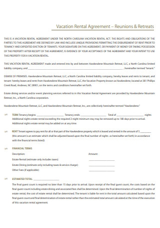 Vacation Rental Agreement Example