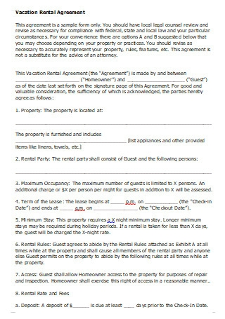 Vacation Rental Agreement in DOC