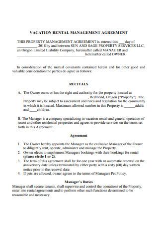 Vacation Rental Management Agreement