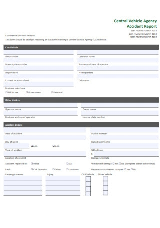 Vehicle Agency Accident Report