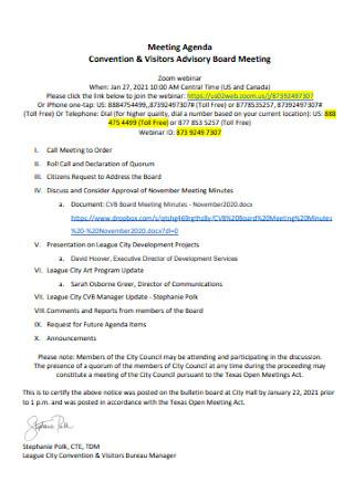 Visitors Advisory Board Meeting Agenda