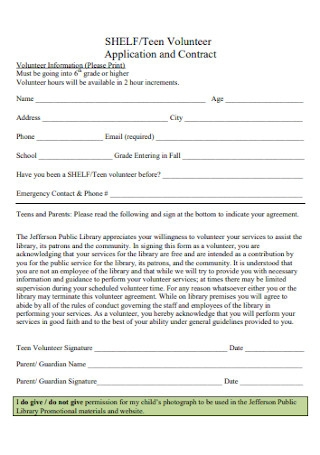 Volunteer Application and Contract