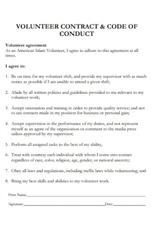 Volunteer Contract and Code of Condact
