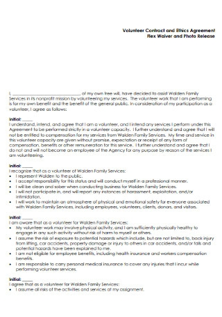Volunteer Contract and Ethics Agreement