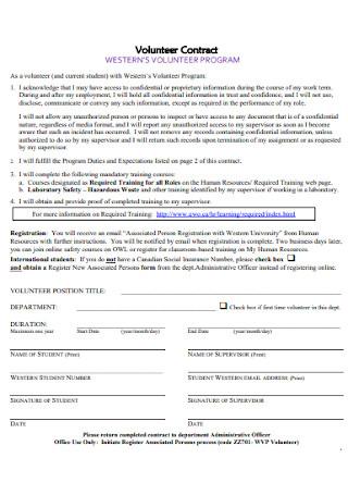 Volunteer Program Contract Template