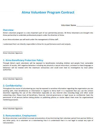 Volunteer Program Contract
