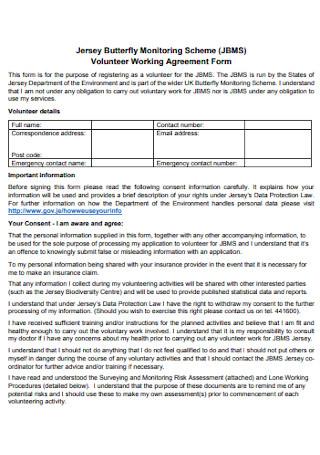Volunteer Working Agreement Form