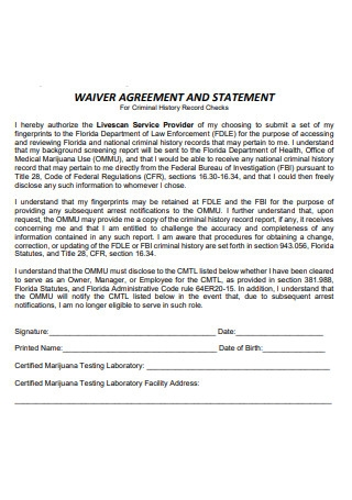 Waiver Agreement and Statement