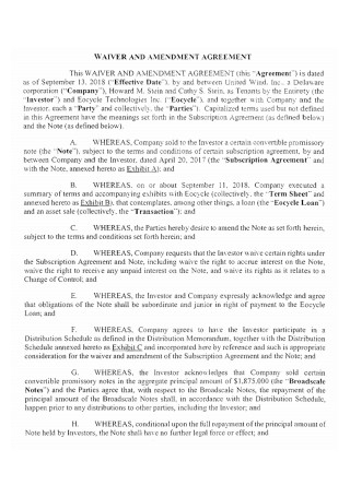 Waiver and Amendment Agreement