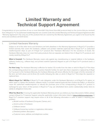 Warranty and Technical Support Agreement