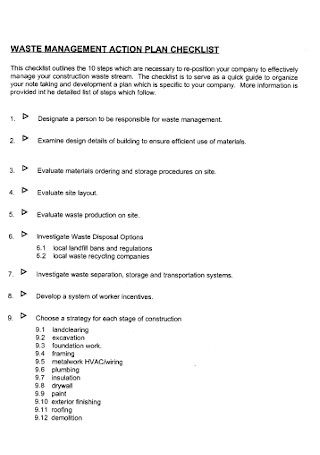 Waste Management Action Plan