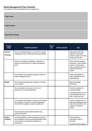 Waste Management Plan Checklist