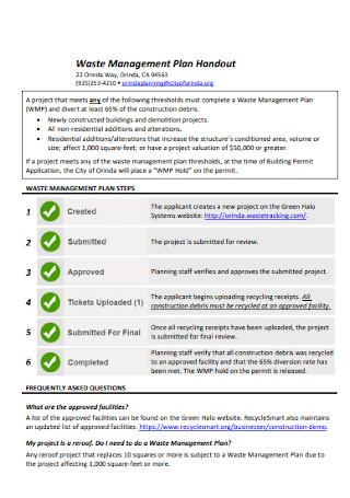 Waste Management Plan Handout