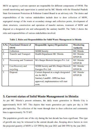 Waste Management Plan for Municipal Corporation