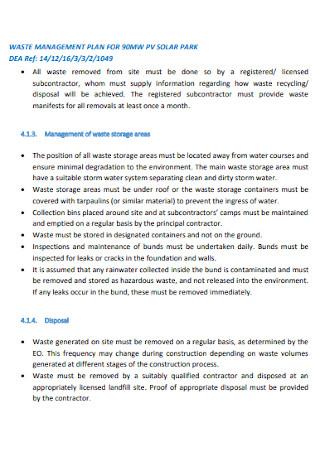 Waste Management Plan for Solar Park