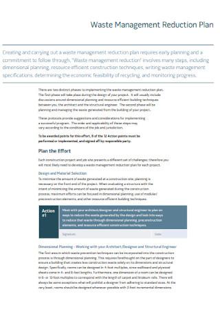 Waste Management Reduction Plan