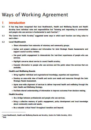 Ways of Working Agreement