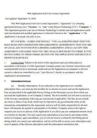 Web Application End User License Agreement