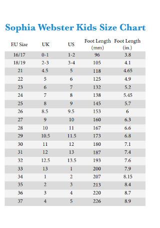 Webster Kids Size Chart