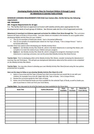 Weekly Activity Plans For Preschool Children