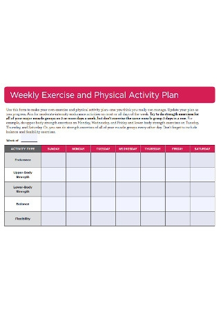 Weekly Exercise and Physical Activity Plan