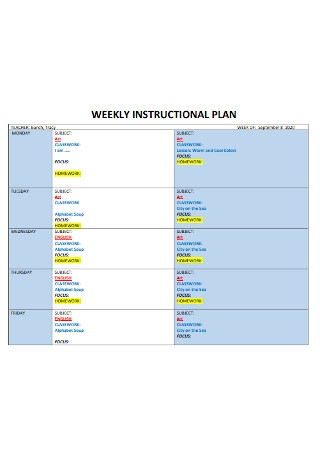 Weekly Instructional Plan