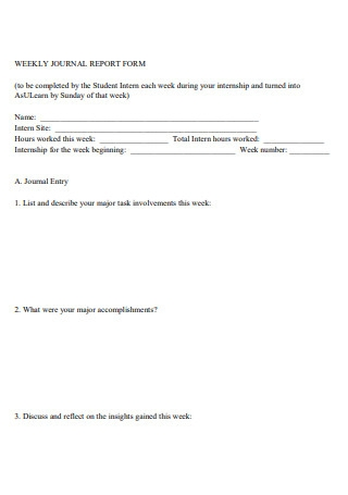 Weekly Journal Report Form