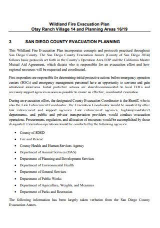 Wildland Fire Evacuation Plan