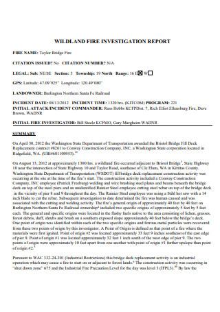 Wildland Fire Investigation Report