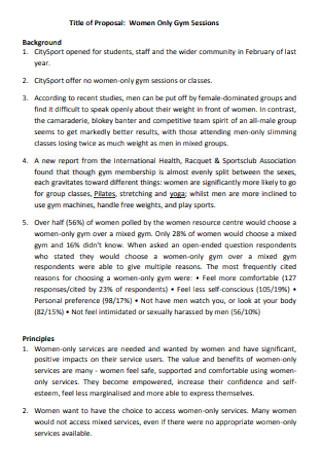 Women Gym Proposal
