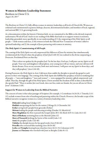 Women in Ministry Leadership Statement