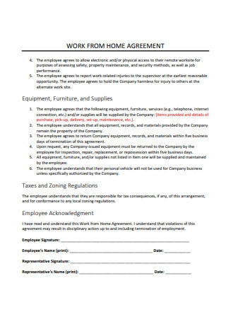 Work From Home Agreement in PDF