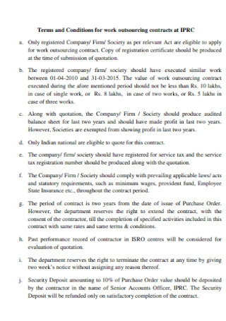 Work Outsoursing Contract