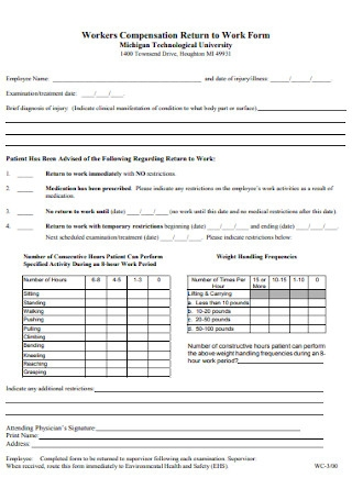 Workers Compensation Return to Work Form