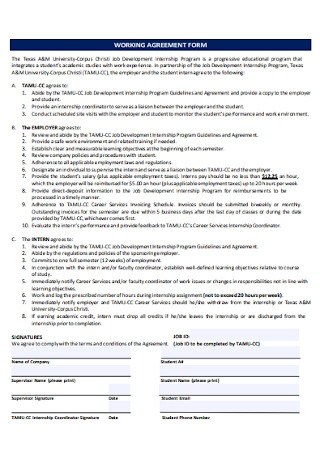 Working Agreement Form