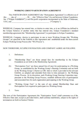 Working Group Participation Agreement