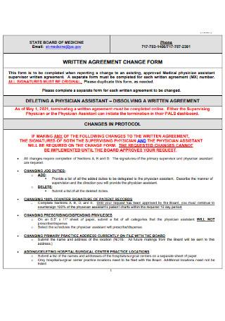 Written Agreement Change Form