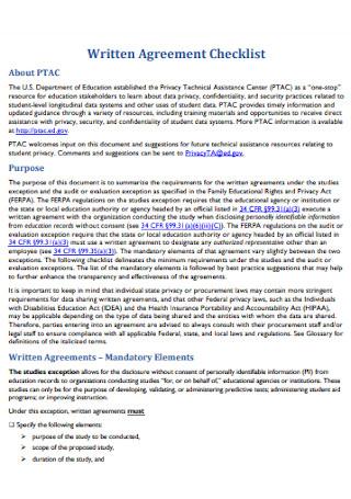 Written Agreement Checklist