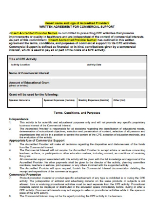 Written Agreement for Commercial Report