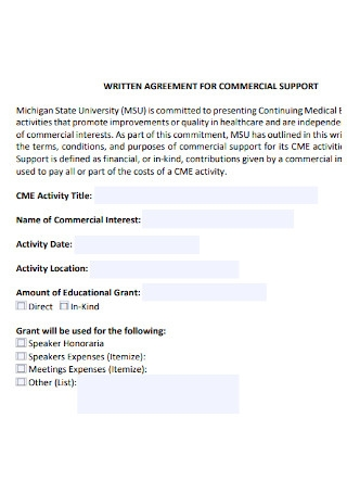 Written Agreement for Commercial Support