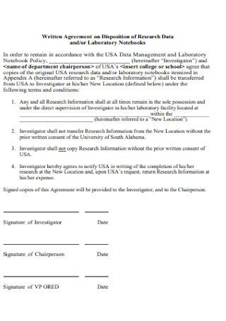 Written Agreement of Research Data