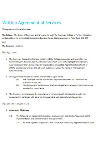 Written Agreement of Services