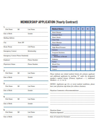 Yearly Contract Membership Application