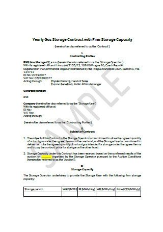Yearly Gas Storage Contract