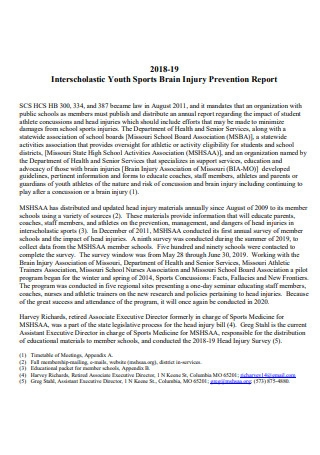 Youth Sports Brain Injury Prevention Report