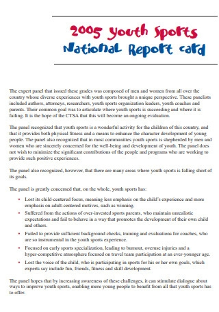Youth Sports National Report Card
