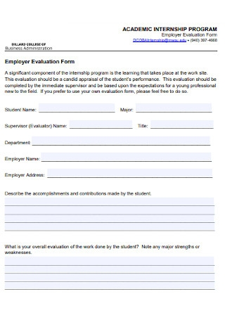 Academic Internship Program Evaluation