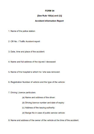 Accident Information Report Form