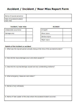 Accident Near Miss Report Form