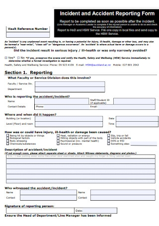 Accident Reporting Form Template